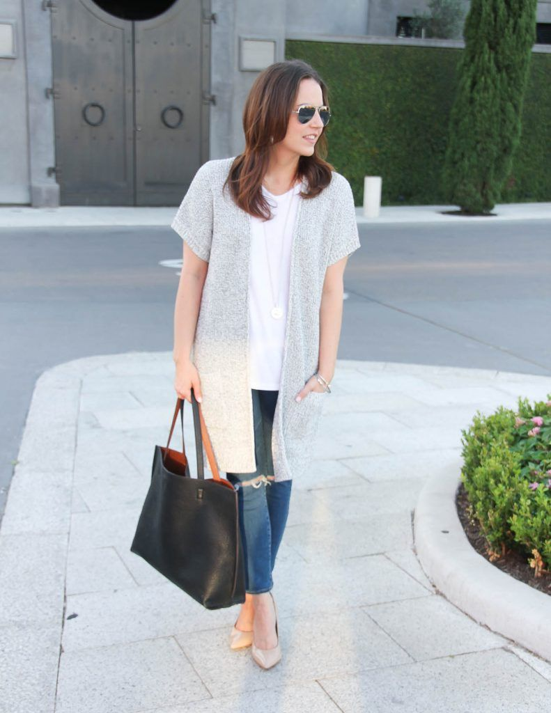 Gray Short Sleeve Cardigan | Casual spring outfits, Distressed ...