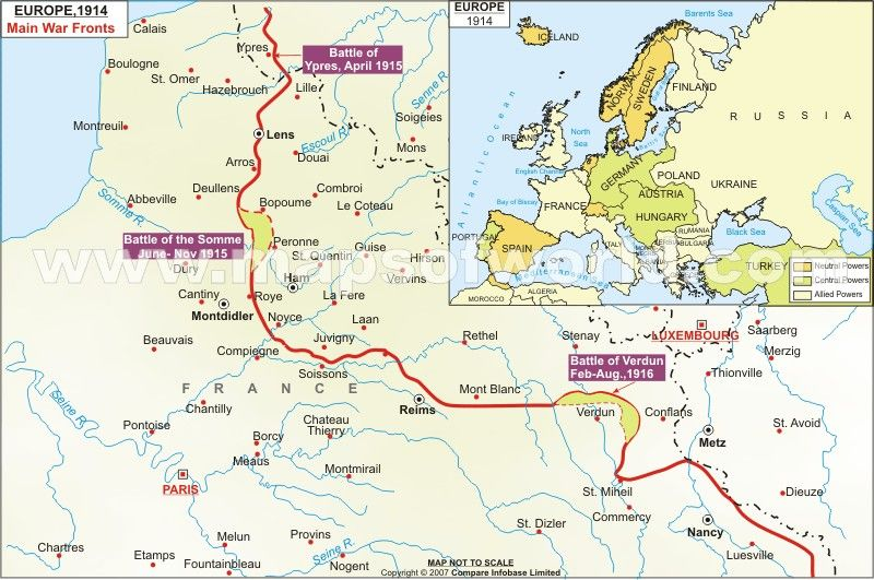 This was a map in Europe where the main trench line was ...