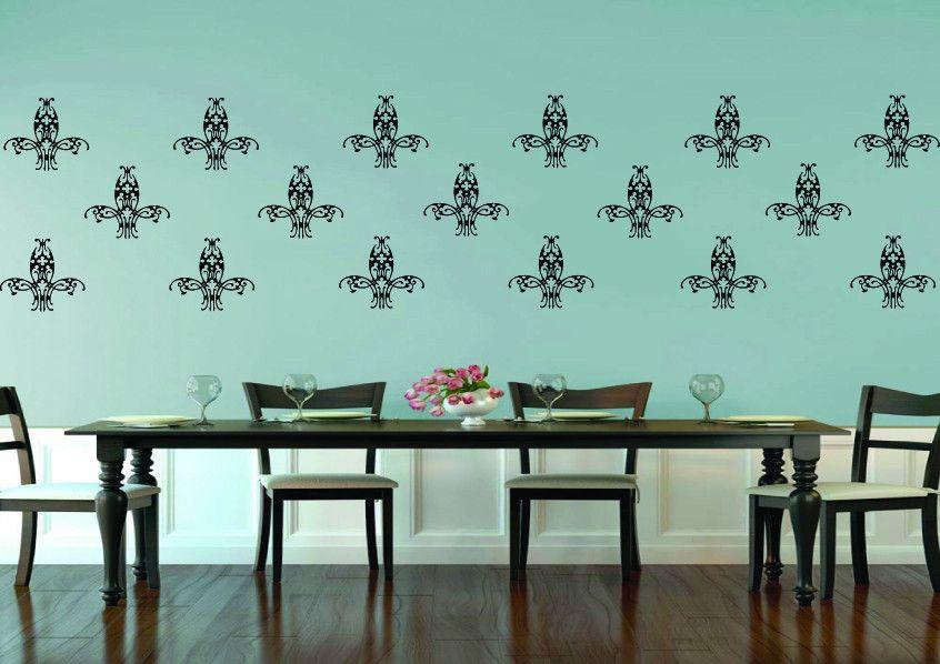 Damask Fleur De Lis Wall Art 4 Sticker Pack Decorative Wall