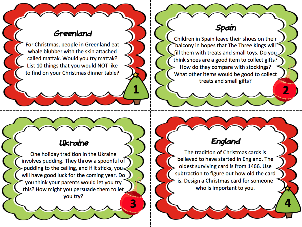 {Christmas Around the World Creative Thinking Task Cards – Christmas Around the World Worksheets