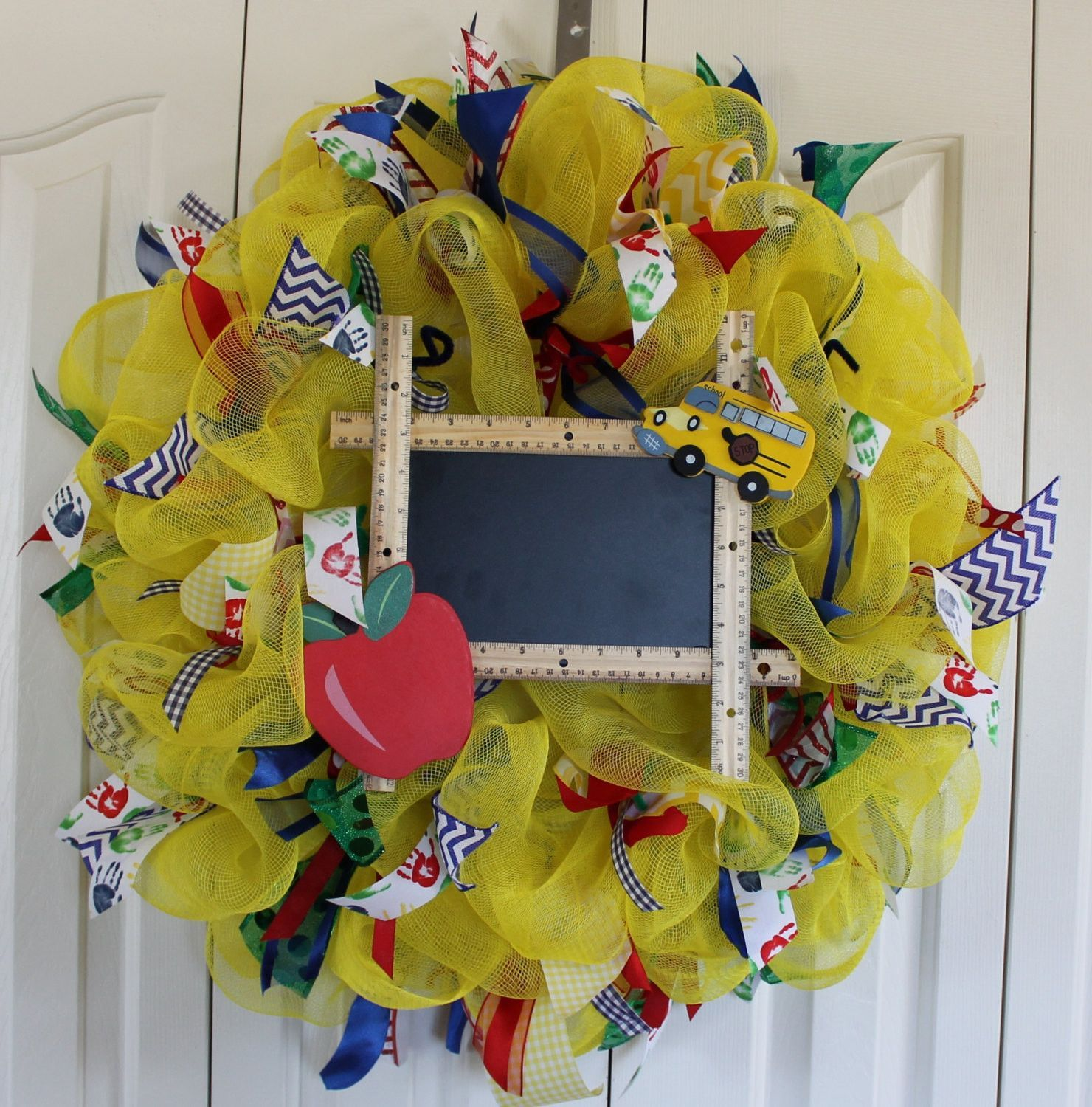 Geo mesh wreath form - This Is A Beautiful Deco Mesh Back To School Teacher Wreath It Is Created On An Wreath Form And The Final Wreath Measures At Least And Is Beautifu