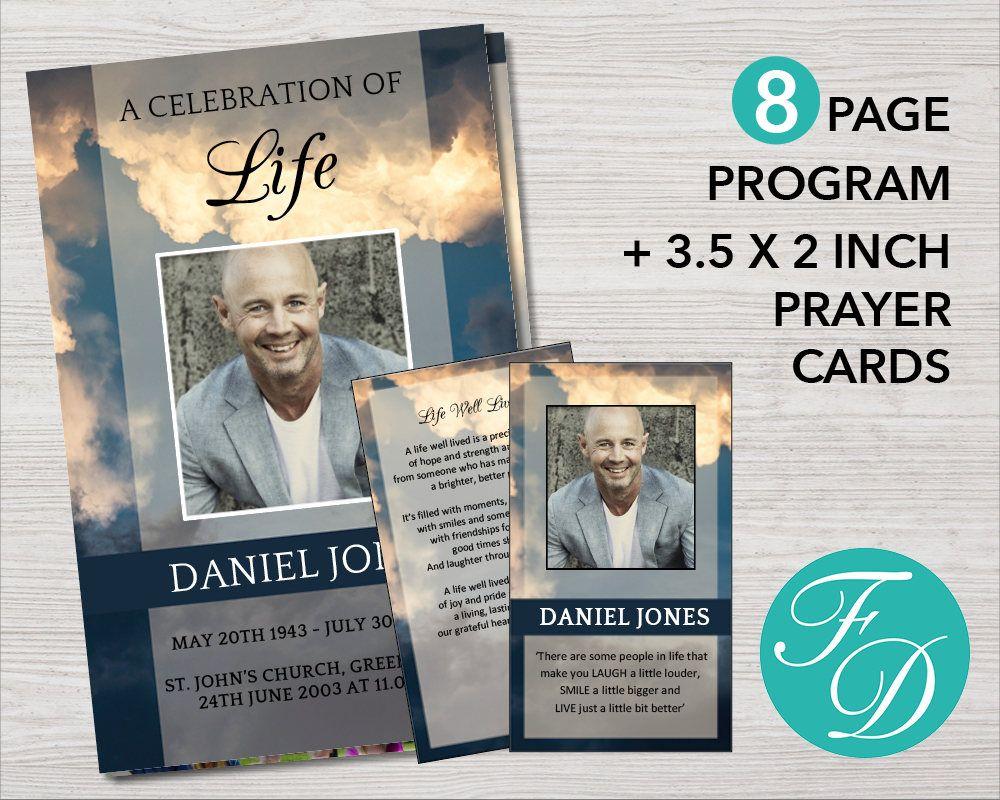 Funeral program template Set - 8 Page Program plus Prayer card ...
