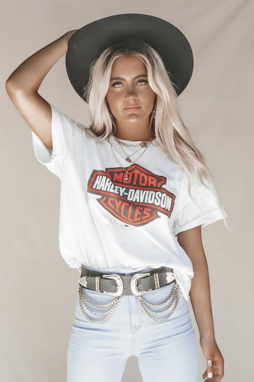Vintage White Oversized Classic Harley Davidson Tee Harley Shirts Harley Davidson Shirts Women Harley Davidson Shirt
