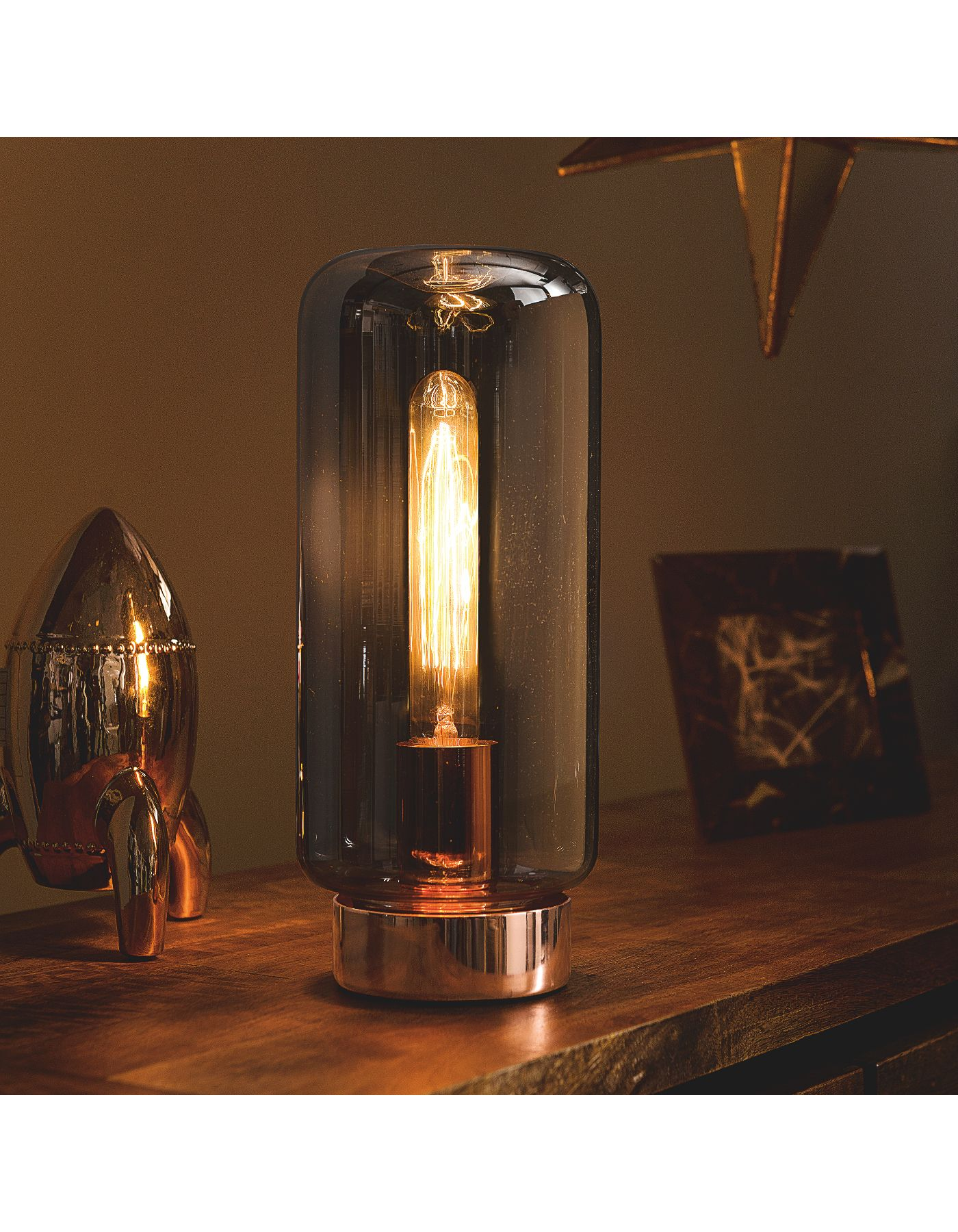 Unusual pendant lamps inspired by medusas digsdigs - George Home Copper Effect And Glass Table Lamp Lighting Asda Direct