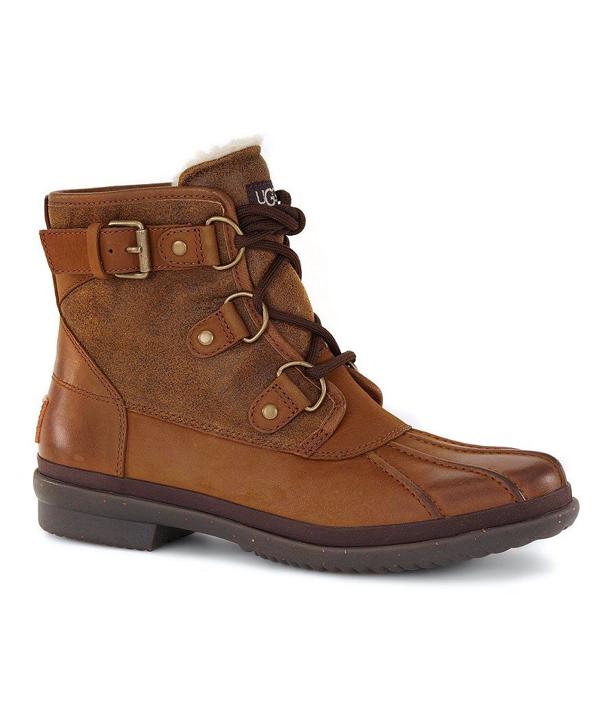 6d8c9986b39 Chestnut:UGG® Cecile Cold-Weather Waterproof Lace Up Leather Duck ...