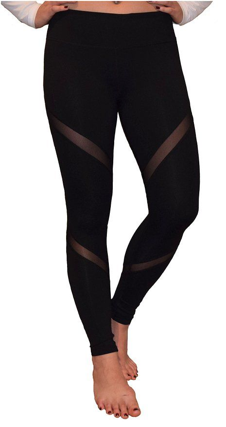 689a15128c2cb Mesh Yoga Pants Women's Workout Leggings by Yogger (Large, Black ...