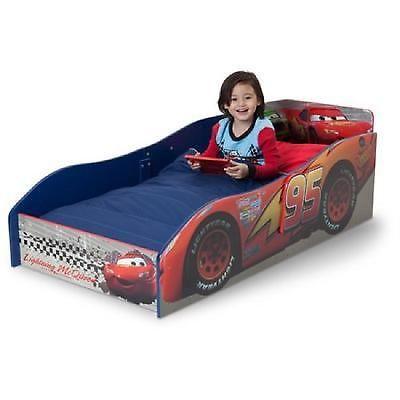 Wooden Toddler Bed Cars High Sides Kids Safe Big Children Pixar