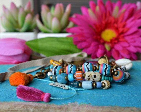 Hippie Boho Zigeuner Armband rustikal ethnische von BeadStonenSkin