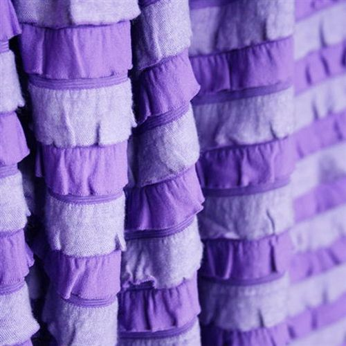 Pansy purple striped ruffle fabric in super soft cozy knit