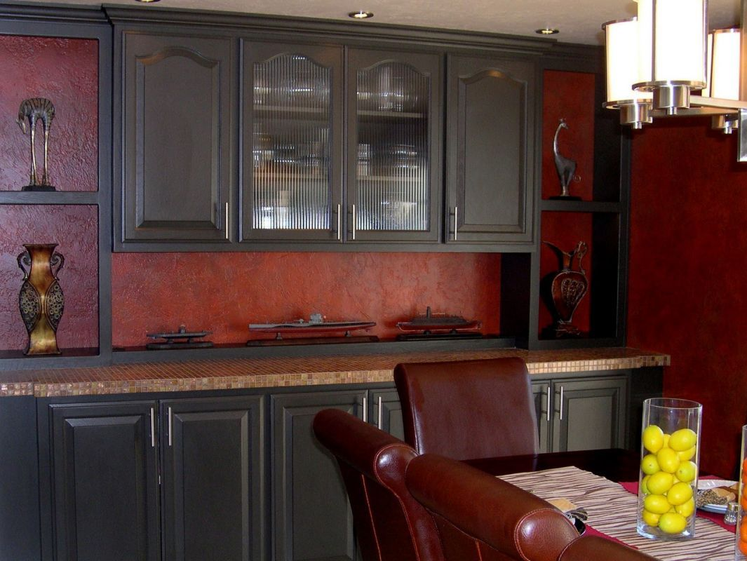 Black Kitchen Cabinets With Red Walls Red Kitchen Walls Black Kitchen Cabinets Dark Kitchen Cabinets