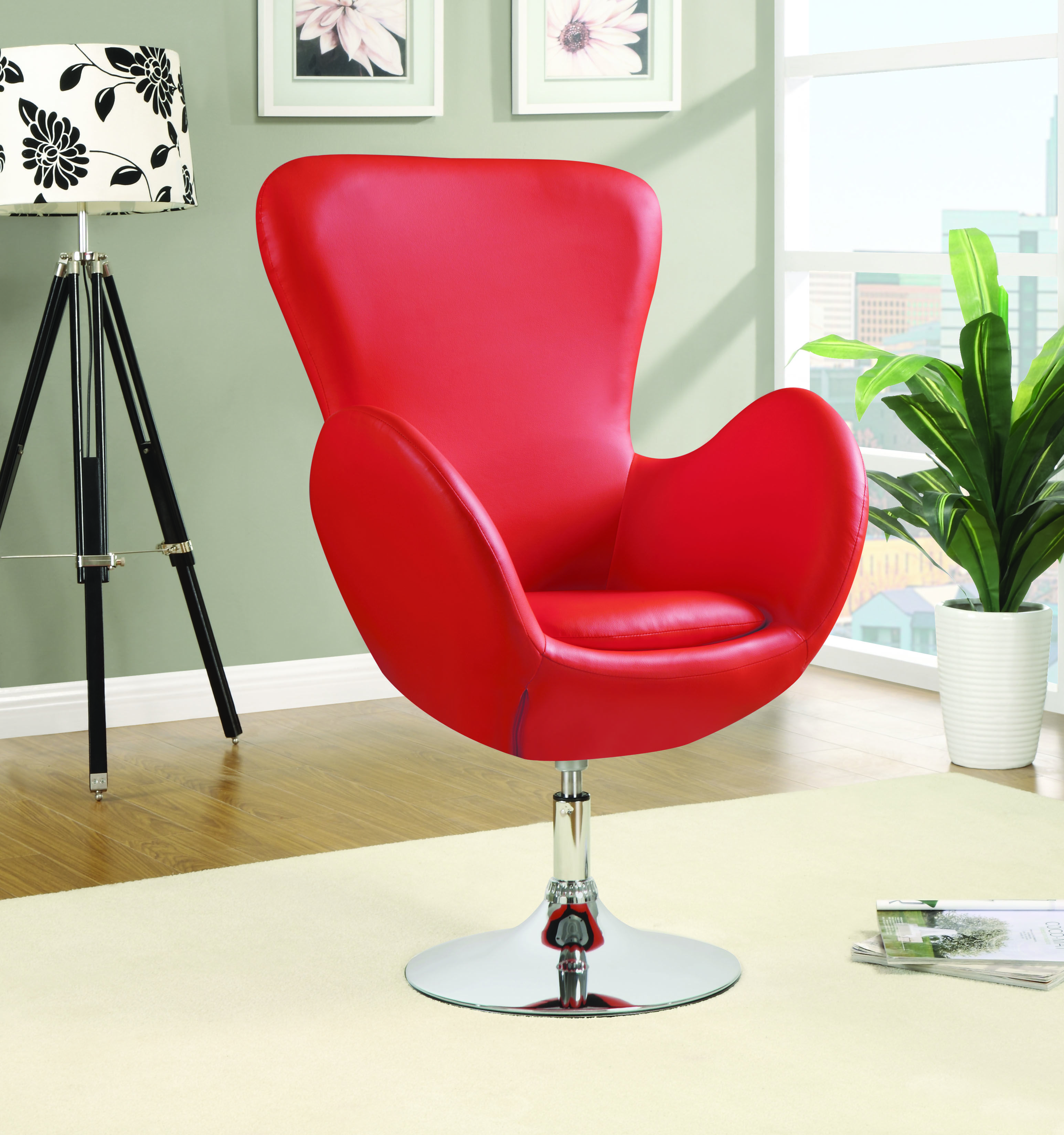 Contemporary swivel chair with high back construction. A perfect accent addition for your bedroom or living room! (Item# 902101) #Accents #Chair #Stylish #Leather #CoasterCompany #Coaster