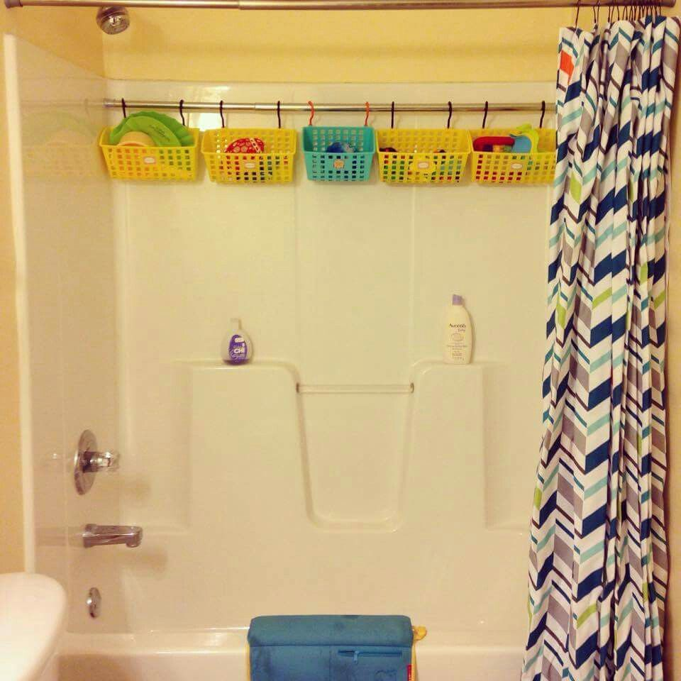 Never Thought About Saving Space By Putting In An Extra Shower Rod To Hold Bins For Bath Toys