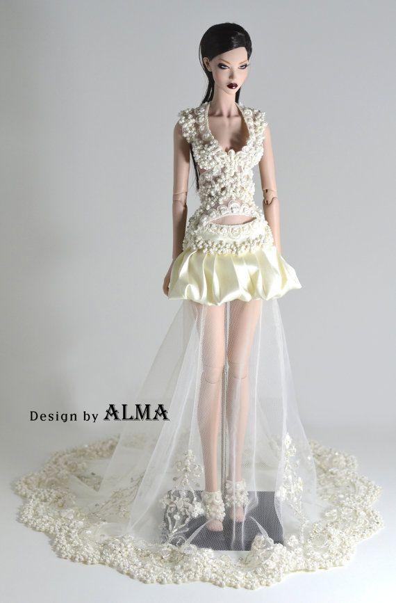 robe couture blanc pour modsdoll poup e mannequin par. Black Bedroom Furniture Sets. Home Design Ideas