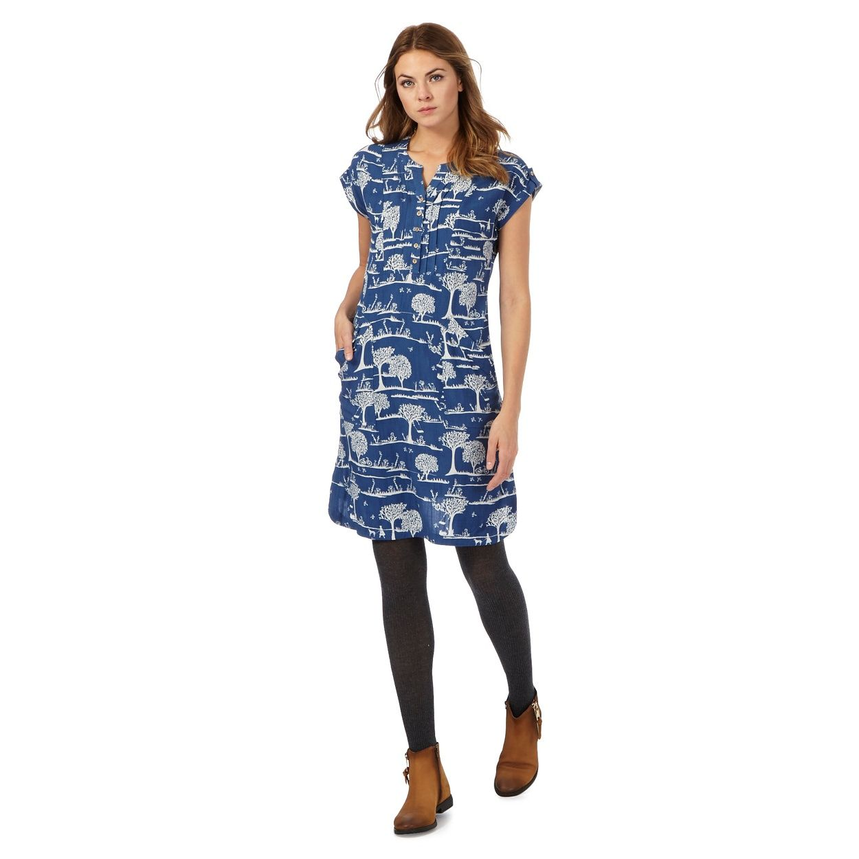 d5af5e7867c Mantaray Blue park scene print dress | Debenhams | Dresses | Dresses ...