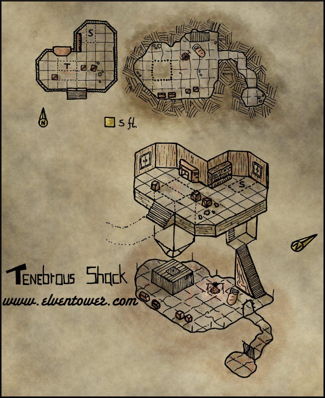 Map 25 Tenebrous Shack Fantasy city map, Map, Fantasy