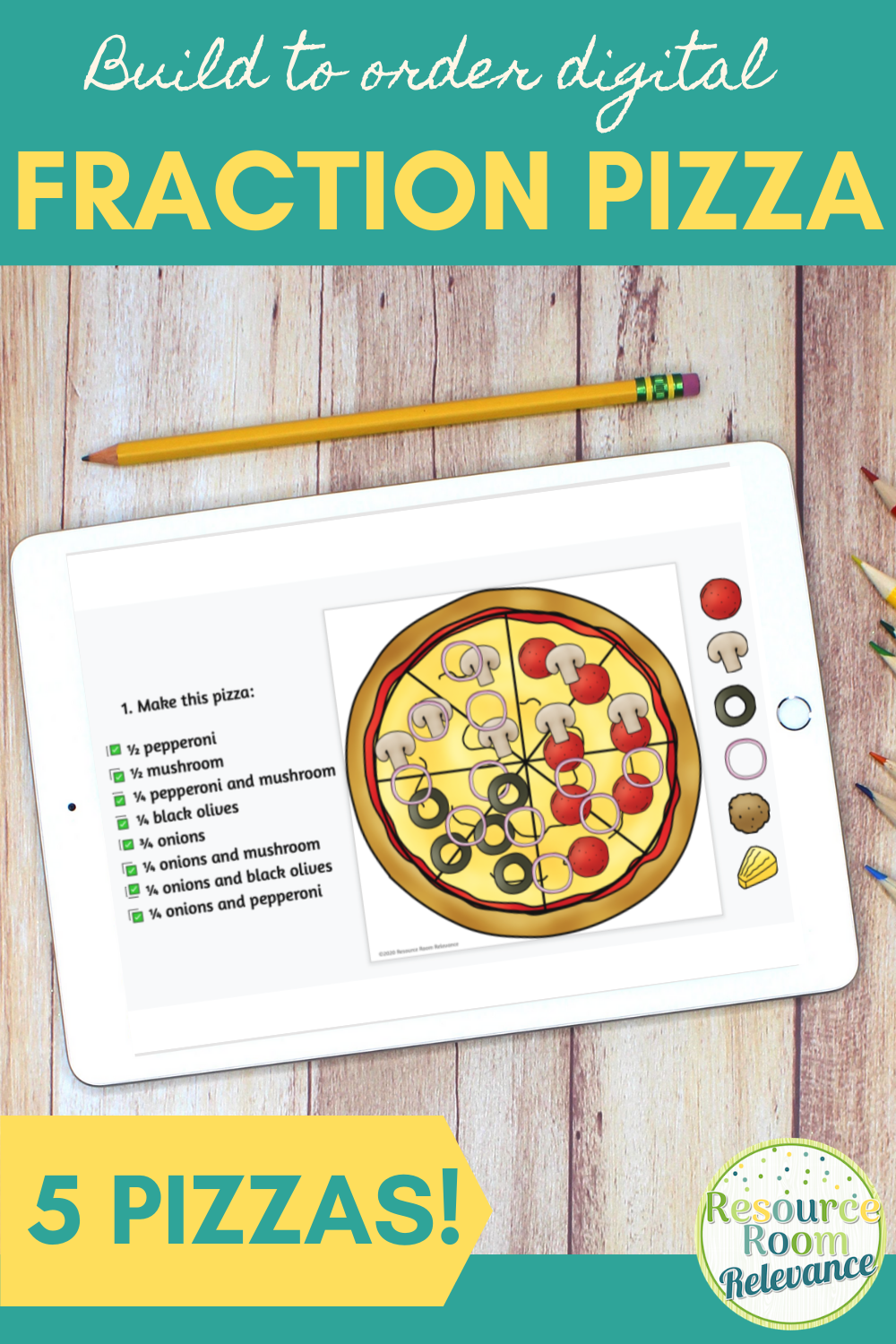 Fraction Pizza Digital Resource Fractions Math Graphic Organizers Digital Resources [ 1500 x 1000 Pixel ]