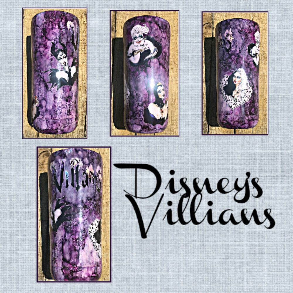 Purple Disney Villains Custom Stainless Steel Tumbler With