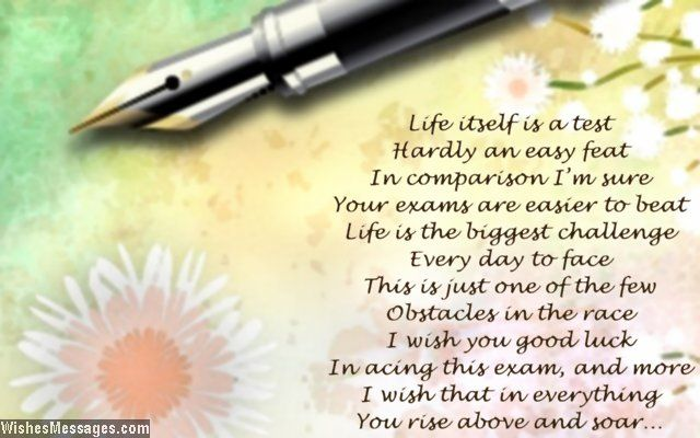 Life itself is a test Hardly an easy feat In comparison Iu0027m sure - best wishes for exams cards
