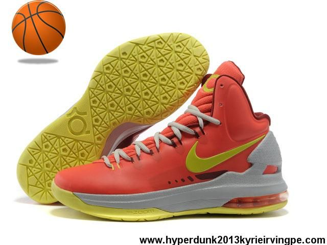Buy Cheap DMV Nike Zoom KD V Bright Crimson/Volt-Wolf Grey 554988-610 Sports Shoes Store