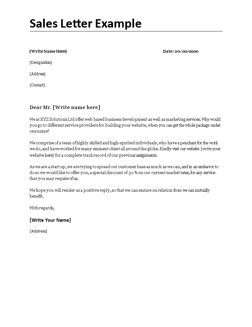 Sales Letter Example  SalesLetterExampleDocx Easy To Download