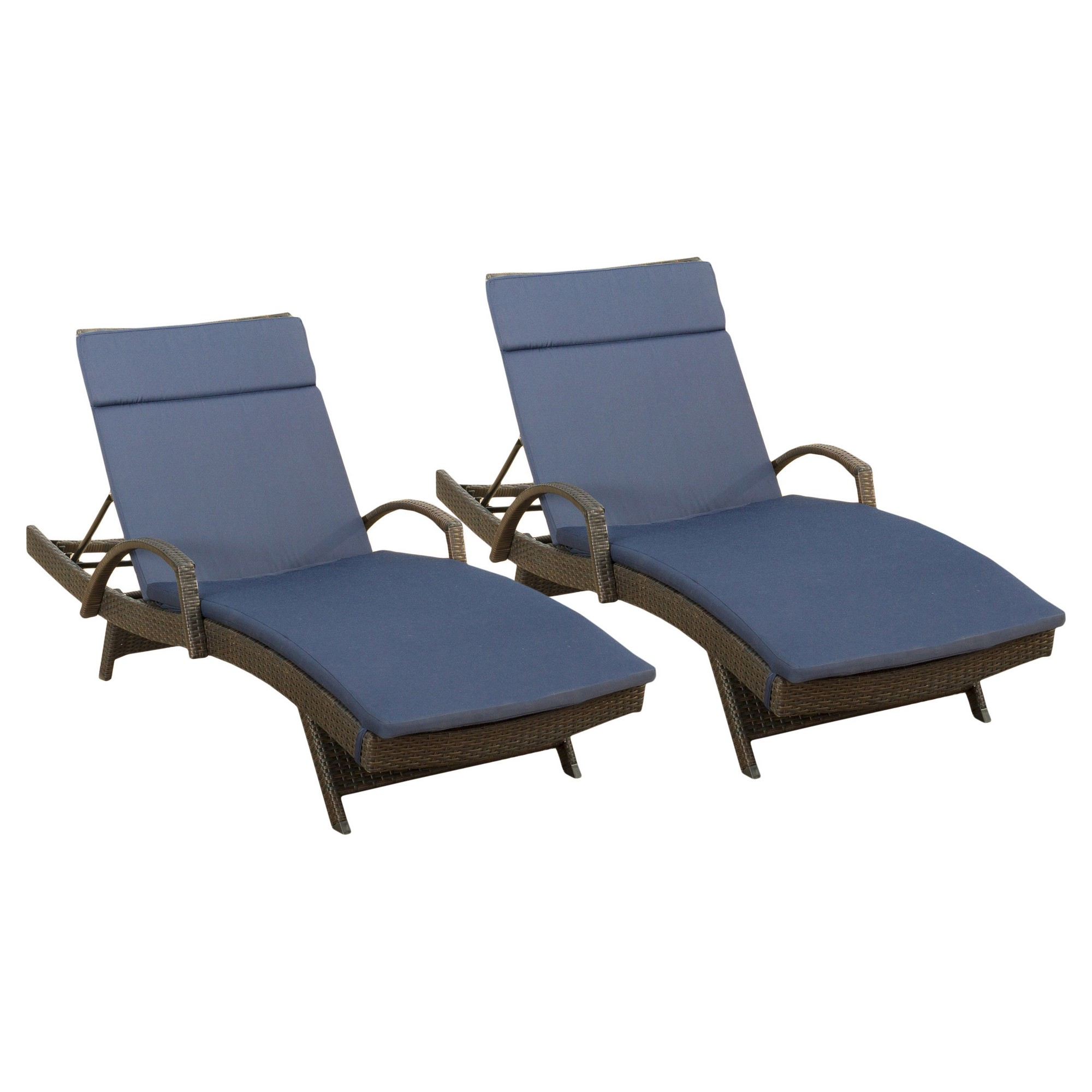 Salem Set of 2 Brown Wicker Adjustable Chaise Lounge with Arms