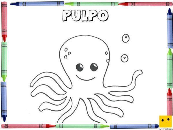 Dibujo Para Colorear Con Los Ninos De Un Pulpo Dibujo De Pulpo Imagenes De Pulpos Dibujos Faciles Para Ninos