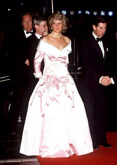 Princess Diana in a dress by Catherine Walker with Prince Charles, in Berlin, 1997