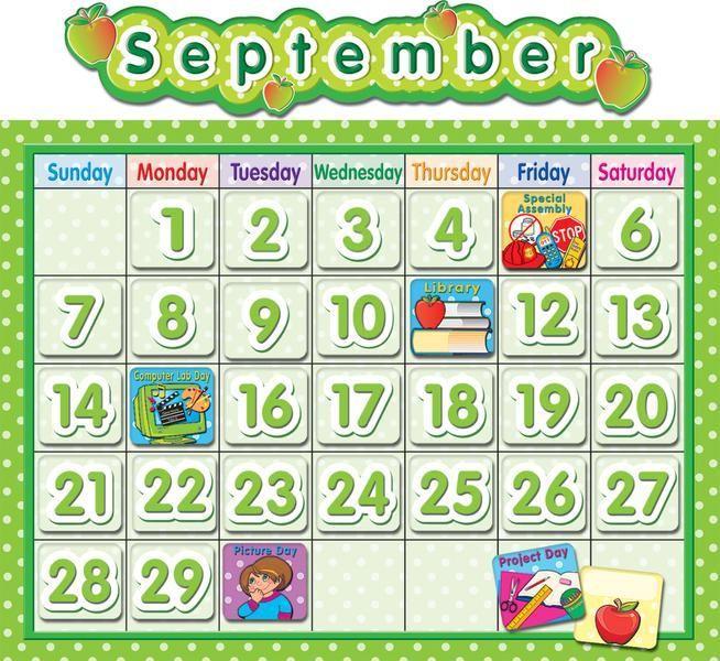Lime polka dot school calendar bulletin board set calendar polka dot school calendar bulletin board fandeluxe Choice Image