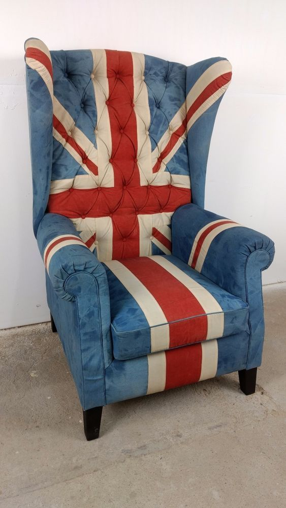 Sessel clubsessel ohrensessel union jack uk chesterfield for Sessel union jack