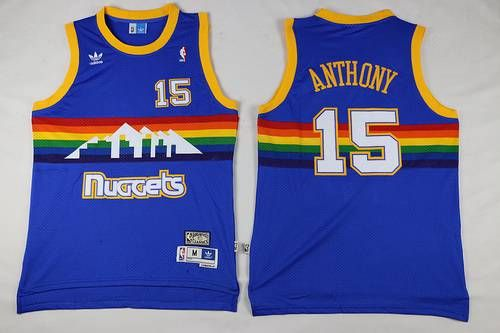 Men s Denver Nuggets  15 Carmelo Anthony Blue Rainbow Hardwood Classics  Soul Swingman Throwback Jersey e9ae90a5b
