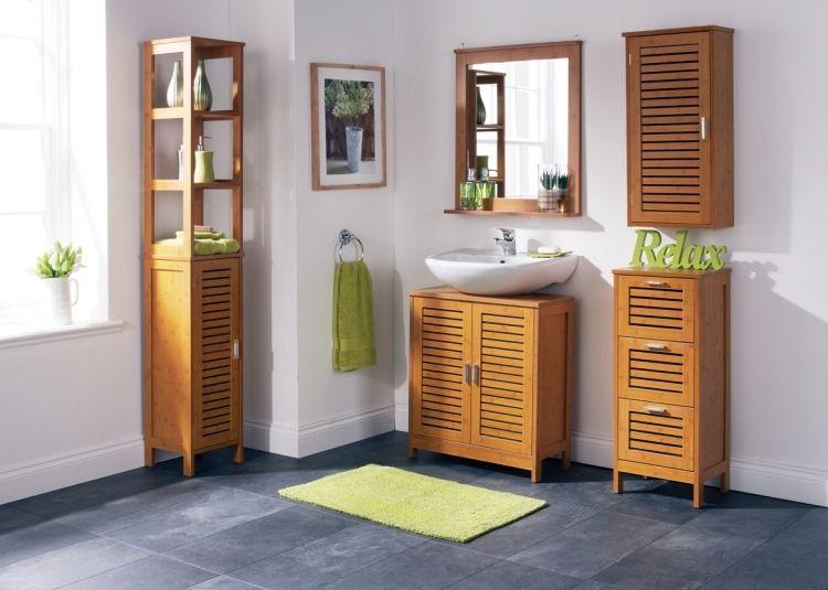 ensemble meuble salle de bain bambou