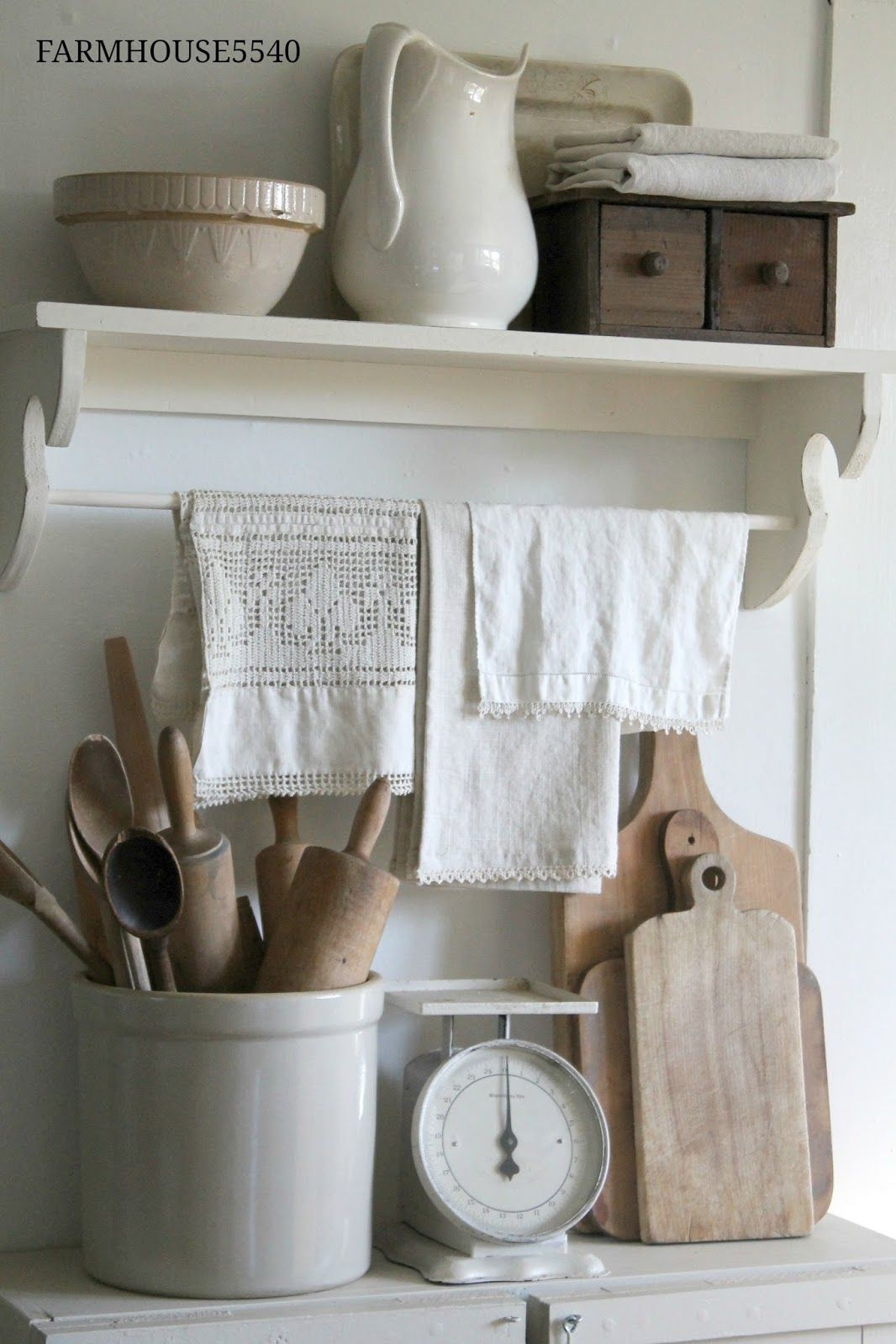 Farmhouse Kitchen White Painted Furniture And Neutral