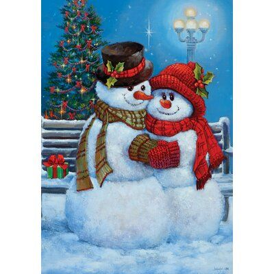 Snowman Couple Polyester 18 x 12 in. Garden Flag