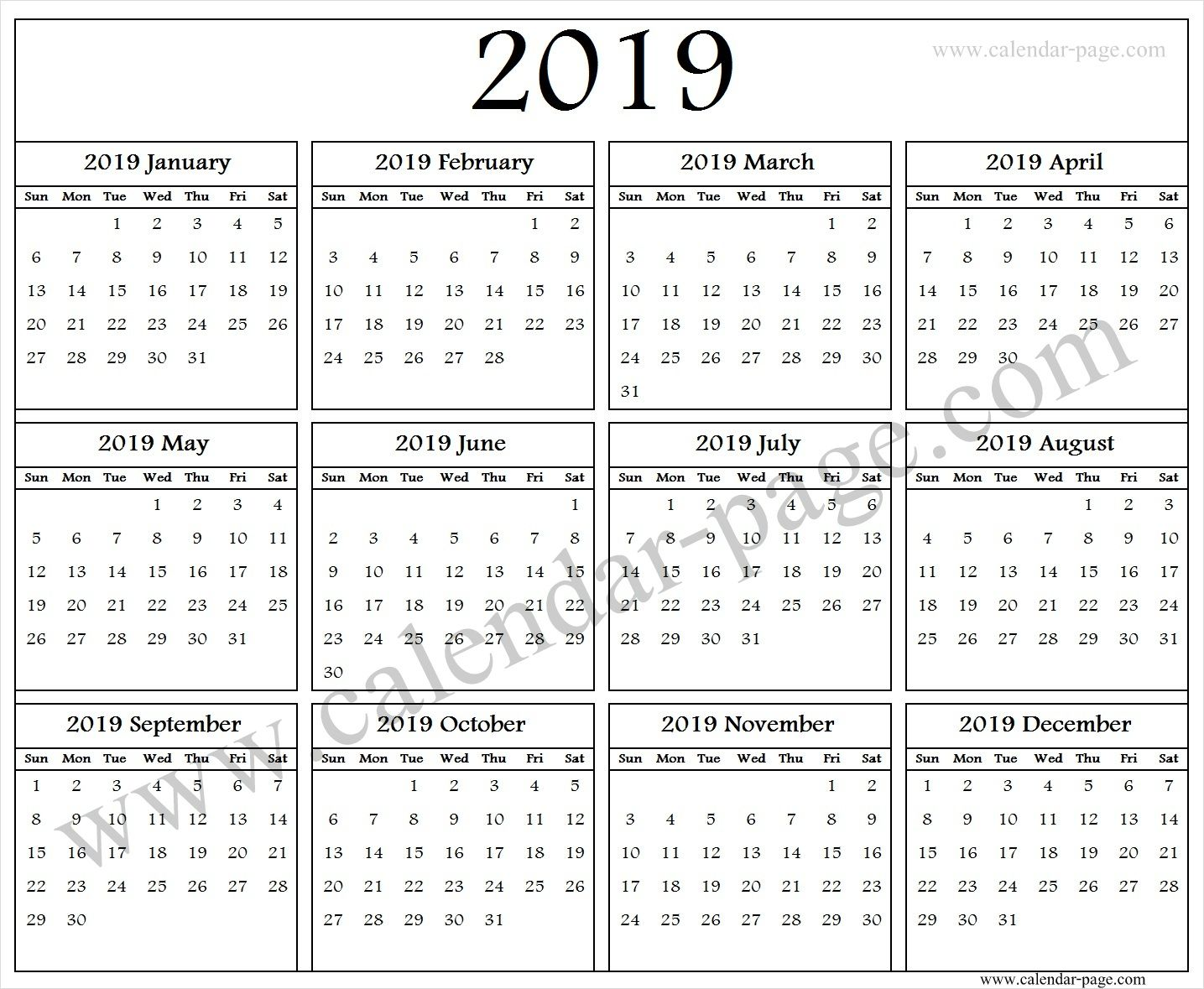 2019 English Calendar Blank Calendar 2019 Image Quarterly