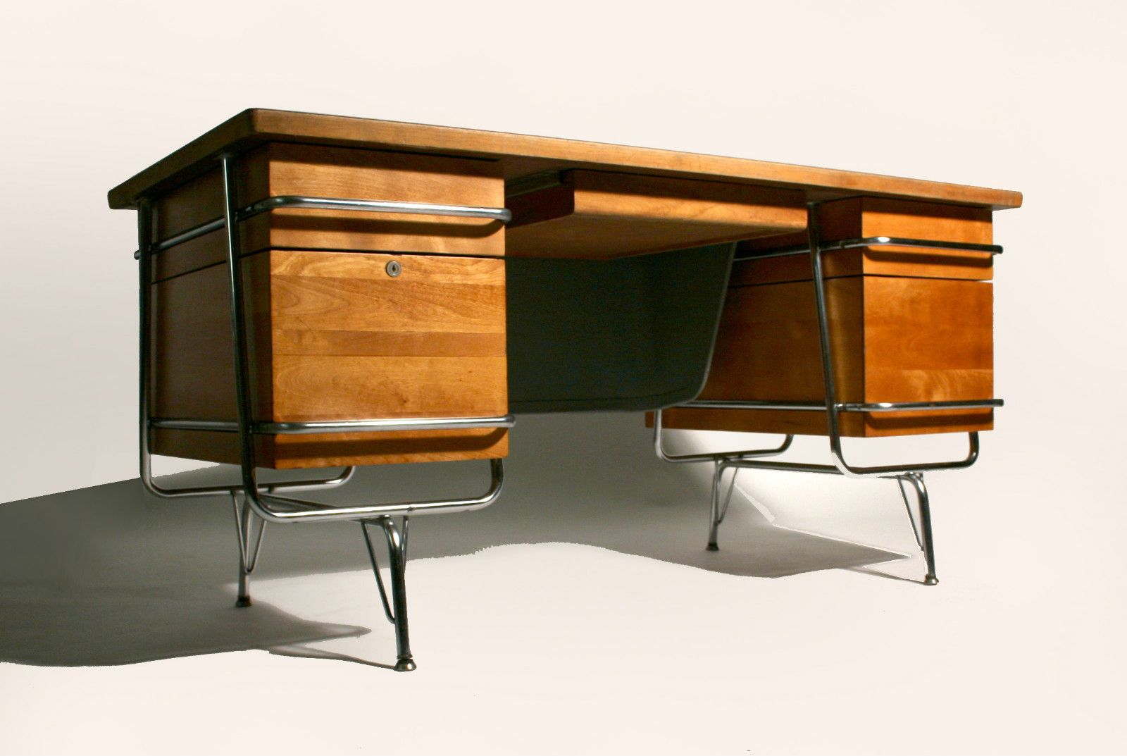 Unusual Desk The Trimline Desk By Kem Weber An Unusual Mix Of Chrome And Birch