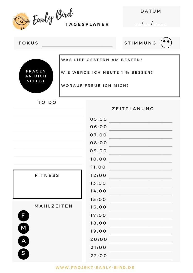 Tagesplaner Tipps Ultimative Vorlage Zum Download Tagesplan Planer Zeitplan