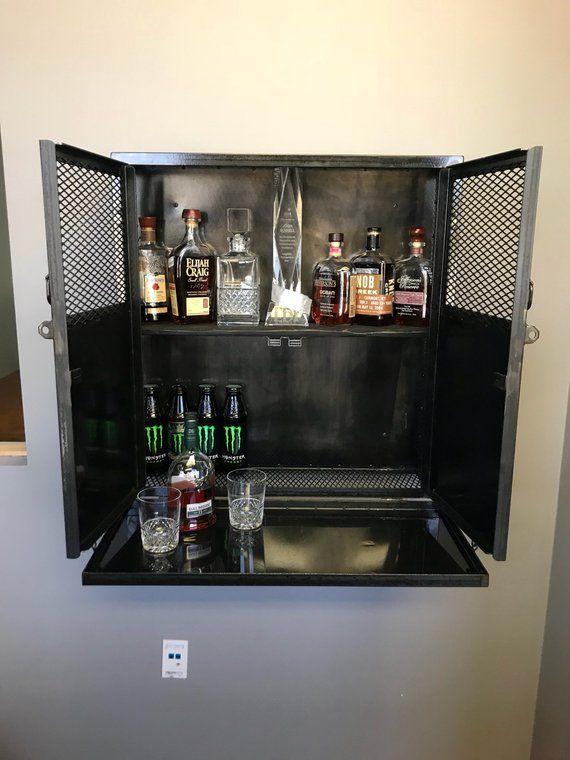Industrial Steel Locking Liquor Cabinet, Liquor Cabinet Lockable
