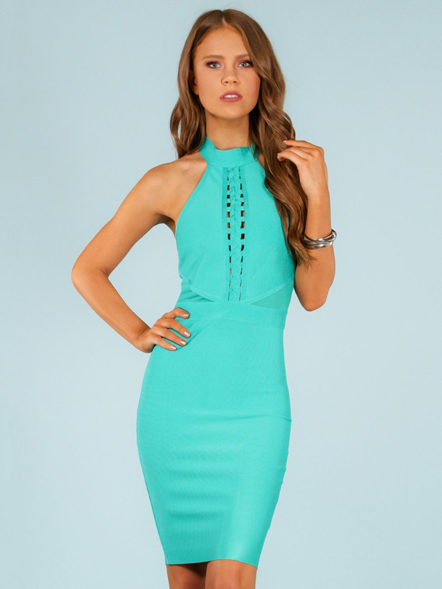 AdoreWe StyleWe Midi Dresses - WOW COUTURE Teal Sleeveless Bodycon ...