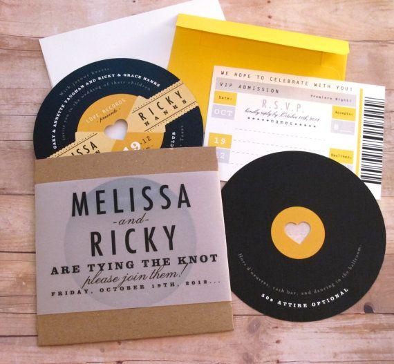music lovers - reto record 1950s rockabilly lp diecut invitation, Wedding invitations