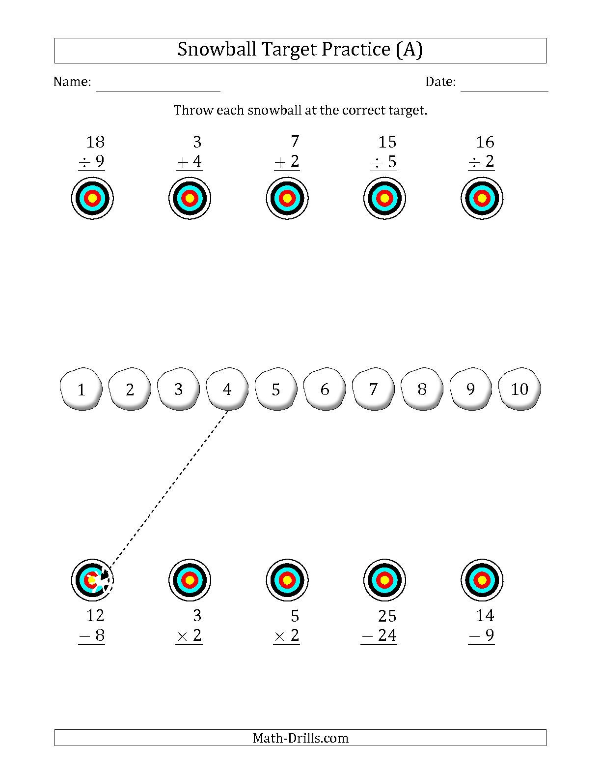 The Winter Snowball Target Practice Mixed Operations With