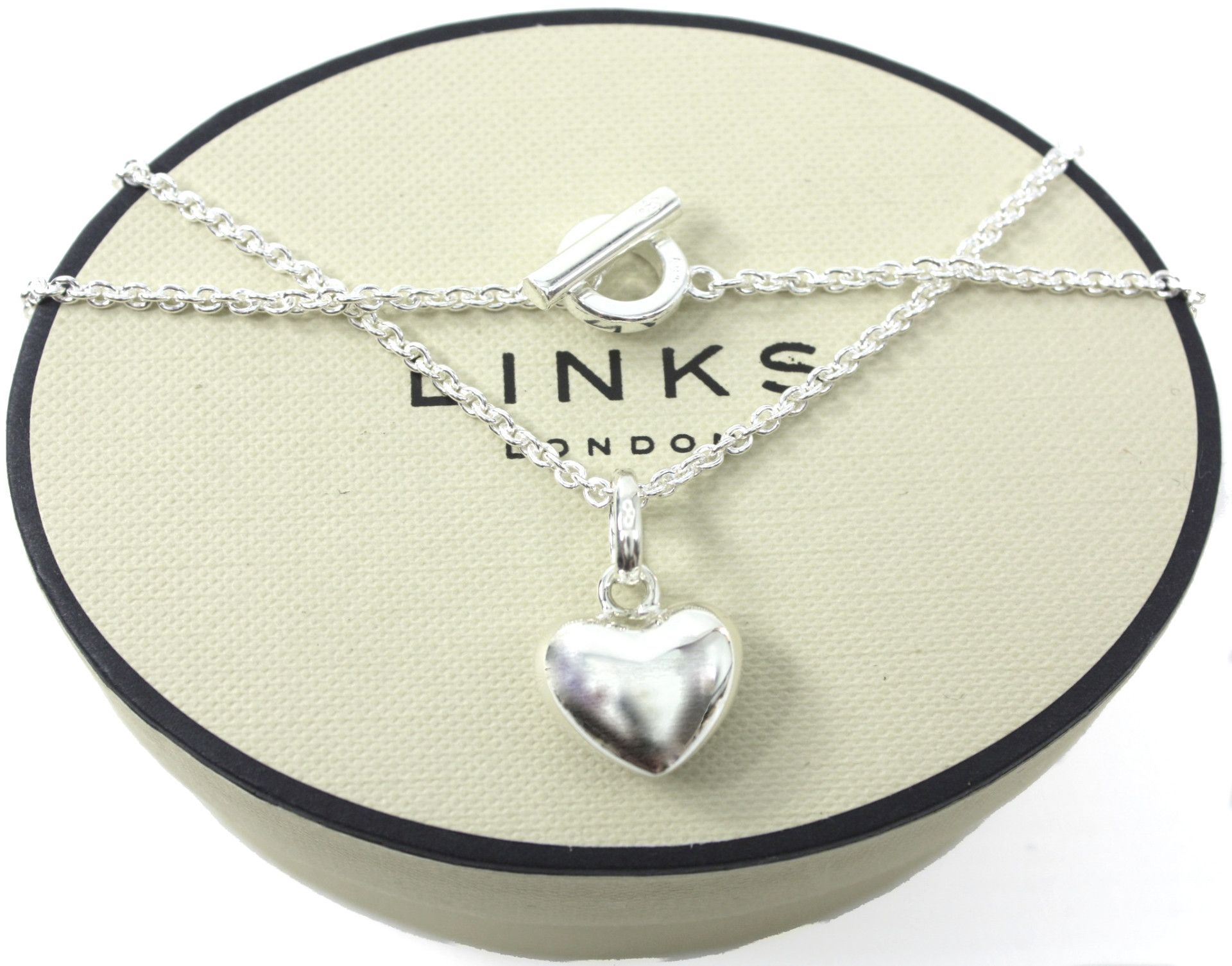Links Of London Sterling Silver Puffed Heart Charm 16 T Bar Necklace Lush