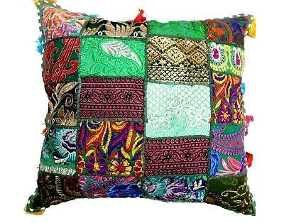 "Embroidered Patchwork Cushion Cover Vintage Floor Pillow Tassels Sofa Sham 20"" #..."