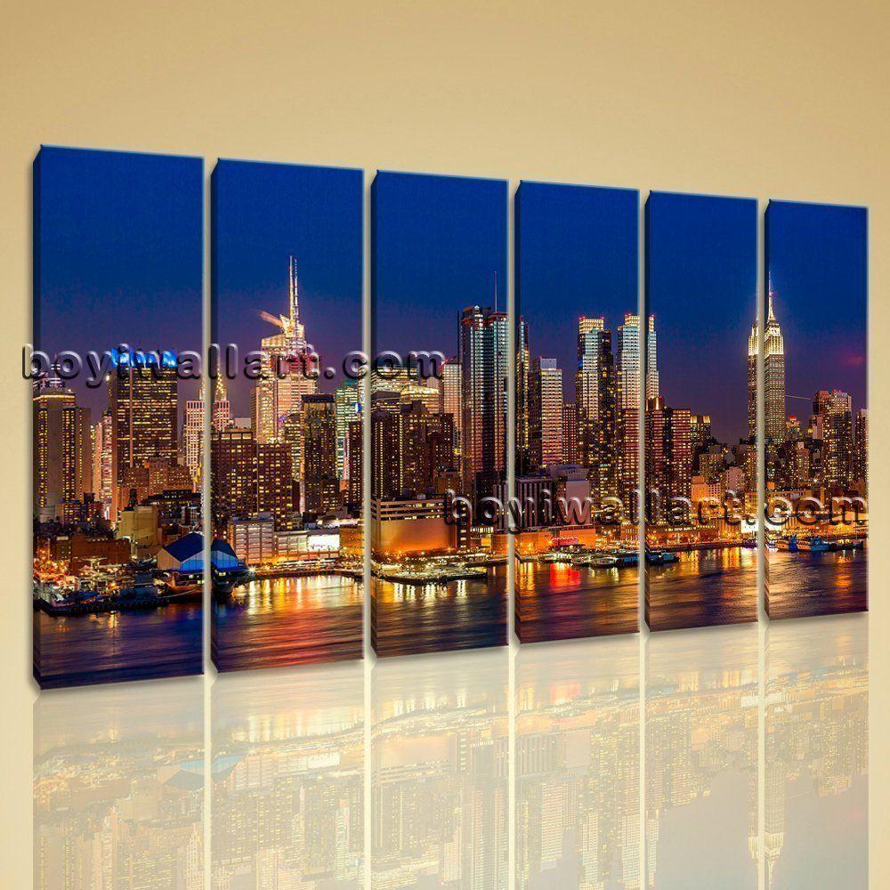Large framed modern cityscape print wall art on canvas night scene