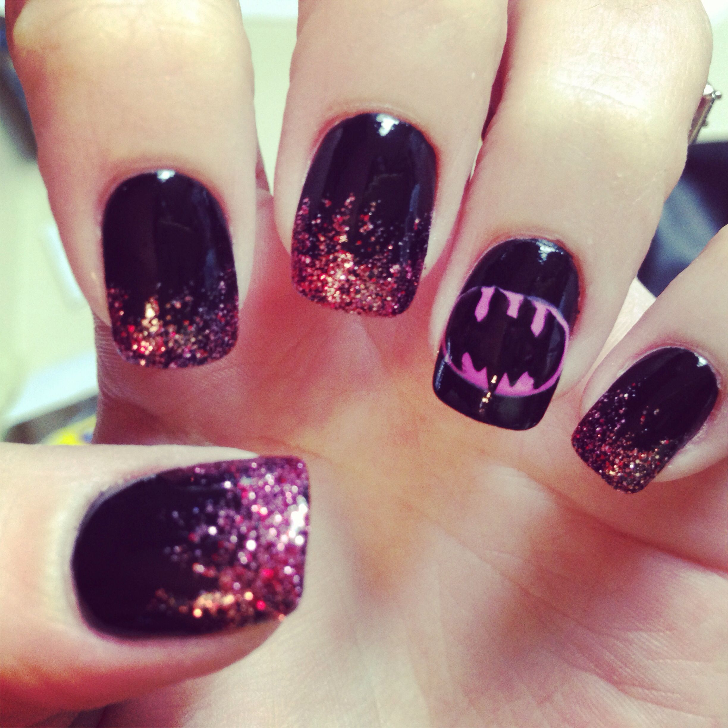 Batgirl nails to match my daughter\'s Halloween costume. Done by kni ...