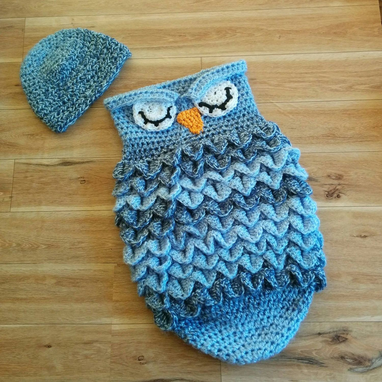 Baby Bunting Bag, Owl Cocoon, Crocheted Owl, Newborn Bunting Bag by ...