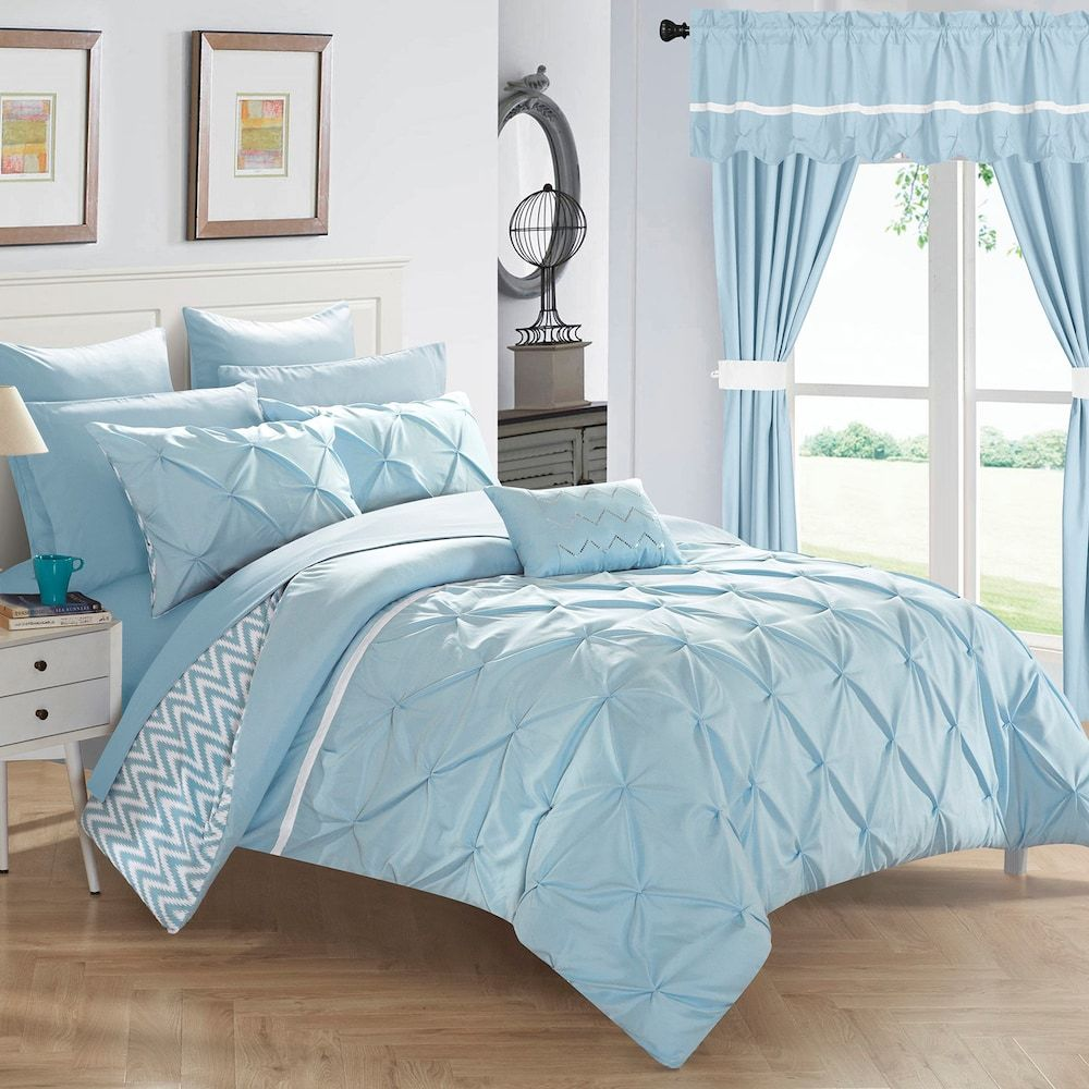 Jacksonville 20 Piece Bedding Amp Window Curtain Set Blue Pattern Comforters Comforter Sets