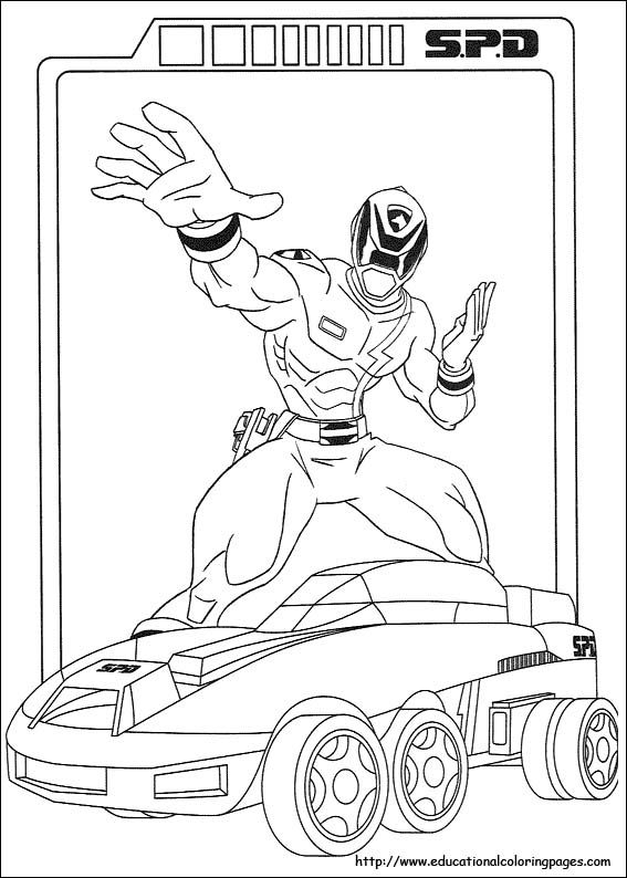 Power Rangers SPD police car coloring page