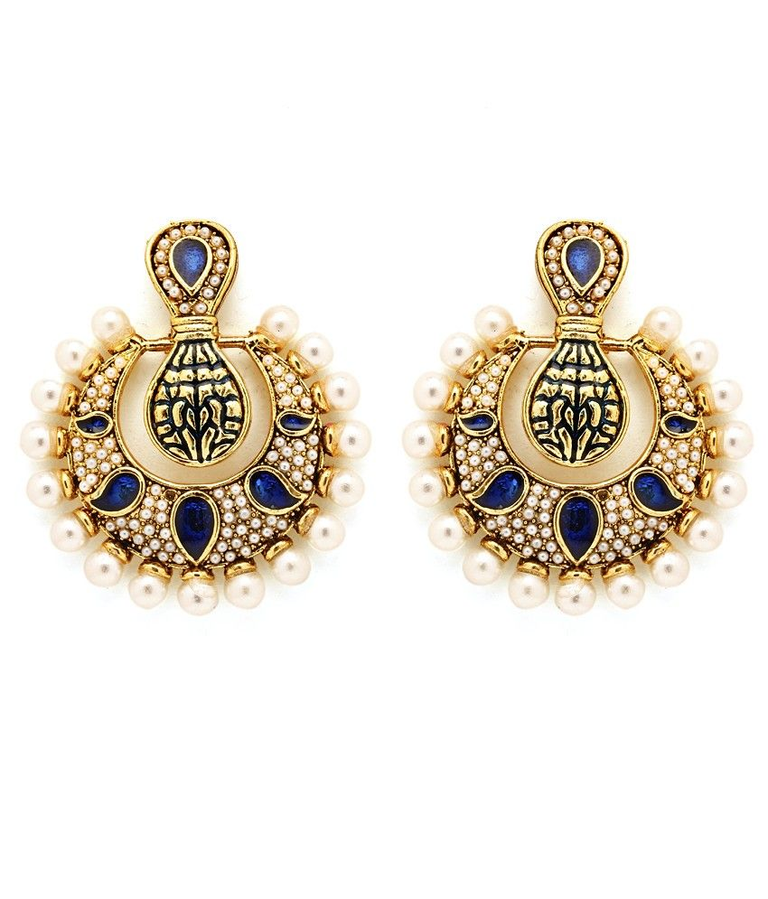 Parampara Crescent And Paisley Design Earrings