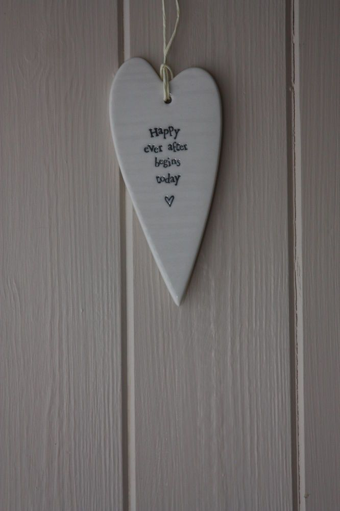 East Of India White Porcelain Hanging Heart Plaque Sign Happy Ever