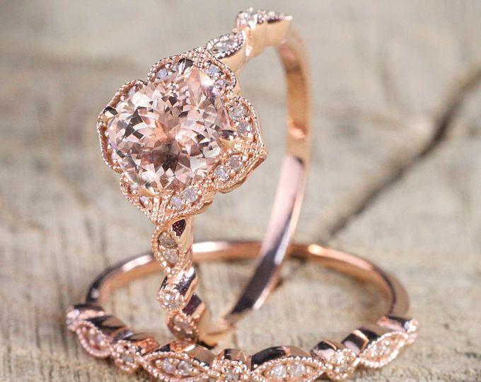 Layaway Partial Payment 1 50 Carat Round Cut Morganite And Diamond Halo Bridal Wedding Ring Set In Rose Gold